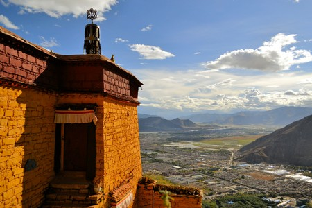 lamaism: Sera Utse Hermitage above Choding Khang Hermitage in Sera Monastery, Lhasa, Tibet.  Sera Use Hermitage on Sera Tse hill is, where Je Tsongkhapa meditated and precedes Sera monastery. The hermitage is also called Drubkjang Tse