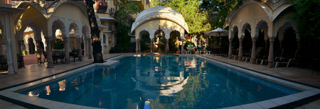 haveli: Pool of Alsisar Haveli palace hotel, Jaipur, India. Alsisar Haveli is a heritage hotel and a former Sultans palace Editorial