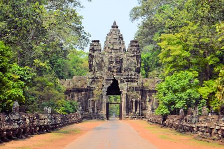 thom: South Gate to Angkor Thom, near Siem Reap, Cambodia.