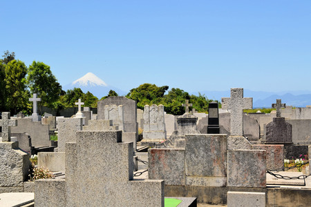 immigrants: Cemetary of German immigrants with Volcano Osorno with lake Llanquihue seen from Puerto Varas, Patagonia, Chile
