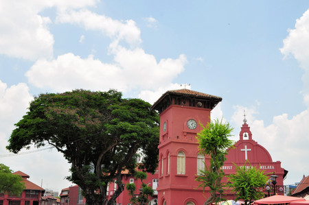 Dutch Colonial architecture of Clock Tower and Christ Church on town square in Malacca, Malaysia