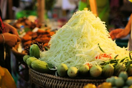 green papaya salad: Spicy Green papaya salad Som Tam, Thai food Stock Photo