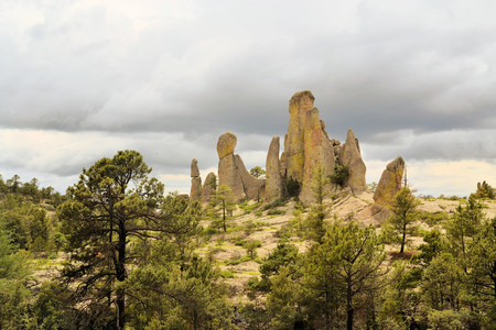 Large phallic rock formations in the Valley of the Monks in Copper Canyon, Creel, Mexico