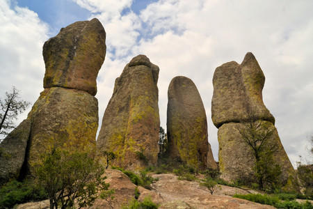 phallic: Large phallic rock formations in the Valley of the Monks in Copper Canyon, Creel, Mexico
