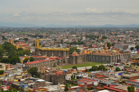 plateresque: Aerial view of the Convent of San Gabriel, one of more than 70 churches in Cholula near Puebla, Mexico