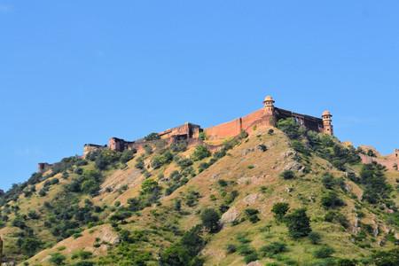 jagmandir: Beautiful Amber Fort is a major tourist landmark near Jaipur city in India. Rajasthan Stock Photo