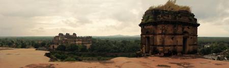 madhya pradesh: Jahangir Mahal, important maharaja palace and military fortification in Orchha, Uttar Pradesh, India Stock Photo