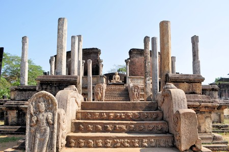 heritage protection: Vatadage is  heritage ancient city of Polonnaruwa, Sri Lanka. A Vatadage is an ancient monument and it was built for the protection of a stupa. Stock Photo