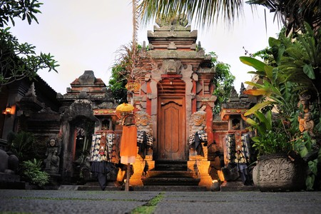 traditional culture: Lotus pond and Pura Saraswati temple in Ubud, Bali, Indonesia. Editorial