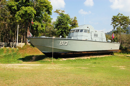 swept: Tsunami Police Boat 813 at Tsunami Memorial Park. The boat was swept inland almost 2 Km by the tsunami of December 2004 in Phang Nga, Thailand