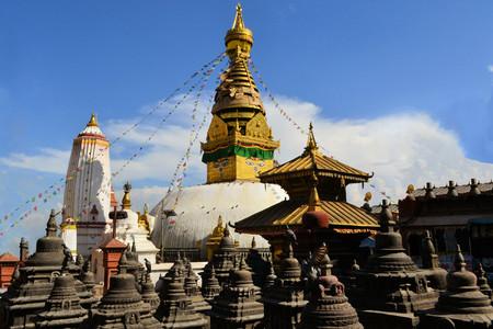 Buddhist Stupa Swayambhunath Monkey temple in Kathmandu, Nepal