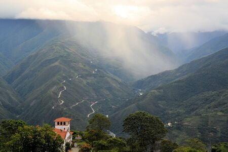 View from Coroico on the lush green Yungas jungle and rain forest covered hills in Cotopata National Park near Coroico, Yungas, Bolivia Banco de Imagens