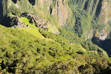 the lost city of the incas: Machu Picchu is the famous lost city of the Incas near the river Urubamba located in the region of the sacred valley of Cuzco. Machu Picchu is a UNESCO world heritage site and one of the 7 new world wonders. Stock Photo