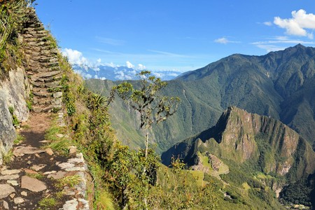 lost city: Stairs of an Inca trail up Macchu Picchu mountain with the lost city way below. Machhu Picchu is the famous lost city of the Incas near the river Urubamba located in the region of the sacred valley of Cuzco. Machu Picchu is a UNESCO world heritage site an Stock Photo