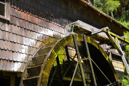 immigrants: Traditional water mill of German immigrants in the former German settlement Frutillar Lake District, Patagonia Southern Chile.