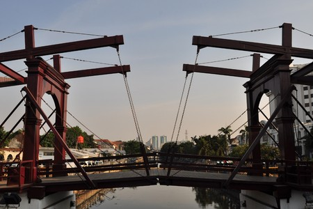 schiedam: Historic Dutch colonial draw bridge over canal, Kota Intan Bridge,  Jakarta, capital of Indonesia Stock Photo