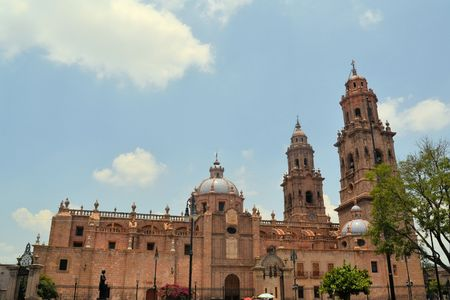 Colonial Spanish Catholic Cathedral of Morelia, Michoacan, Mexico Standard-Bild