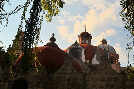 colonial church: El Carmen Convent is a Christian Catholic Colonial church and monastery ind the Spanish colonial city of Morelia. Morelia is a famous colonial city in Central Mexico and its historical center is a UNESCO world heritage site. Stock Photo