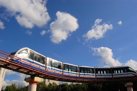 Monorail Skytrain is an above ground fast mass transit system connecting 2 stations of the Moscow metro, Moscow, capital of Russia
