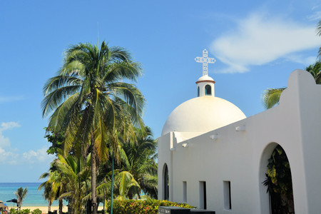 carmen: Typical White Mexican church at the beach Playa del Carmen, Quintana Roo, Mexico Stock Photo