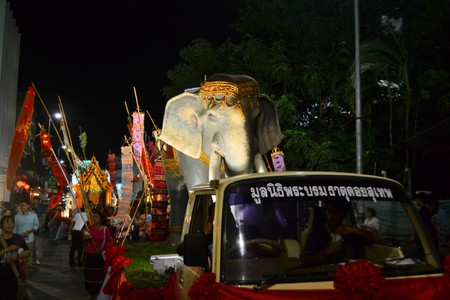 artificial lights: Chiang Mai, Thailand - 16 November 2013: Loy Krathong festival car with an artificial elephant at Yee Peng festival of lights.