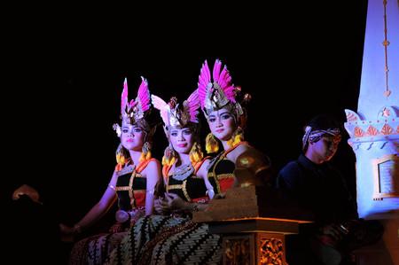 jogjakarta: Yogyakarta, Indonesia - 7 October 2014:  258th city anniversary - Women traditionally dressed as princesses march in a parade to celebrate tradition and unity at Marlioboro Street, Kota Yogyakarta