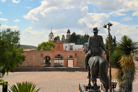 Shrine of Our Lady of Patrocinio is a chapel on a hill with a cable car in Zacatecas, Mexico