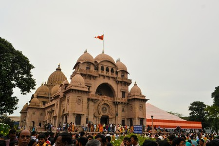howrah: Kolkata, India - 9 October 2013:  The main ceremony of Hindu festival Durga puja is held at Belur Math in Howrah, Kolkata. Durga Puja is one of the most important festivals in all of India.