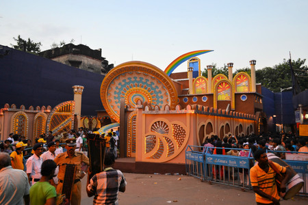 Kolkata, India - 9 October 2013:  An unidentified pandal in the city of Kolkata during Durga Puja festival. A pandal is a temporary temple, erected during the week long religious festival of Durga Puja, one of the most important festivals in all of India.
