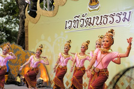 majesty: Bangkok, Thailand - 2 December 2014: Performers on stage to celebrate the 87th birthday of His Majesty King Bhumibol Adulyadej at the royal field Sanam Luang adjoining the Grand Palace, Rattanakosin Central Bangkok