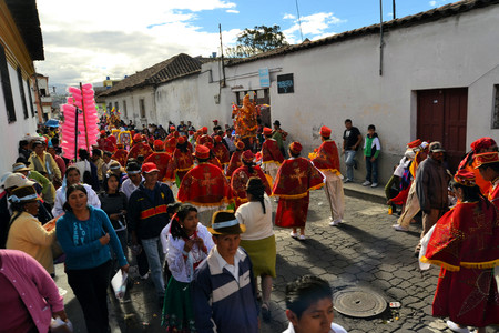 Latacunga, Ecuador 30 September, 2012: A parade march during La Fiesta de la Mama Negra traditional festival.  Mama Negra Festival is a mixture of indigenous, Spanish and African influences and celebrates the patron saint Virgen de la Merced supposedly st