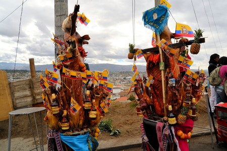 cavie: Latacunga, Ecuador 01 October, 2012: Unidentified participants parade pigs adorned with fruits, spirits, flags and guinea pigs at La Fiesta de la Mama Negra traditional festival.  Mama Negra Festival is a mixture of indigenous, Spanish and African influen Editoriali