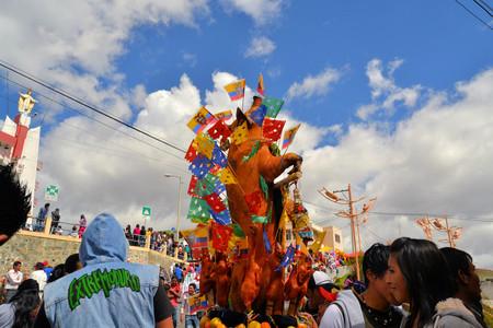 cavie: Latacunga, Ecuador 30 settembre 2012: i partecipanti non identificati maiali parata ornati di frutta, liquori, bandiere e porcellini d'India a La Fiesta de la Mama Negra festa tradizionale. Mama Negra Festival � una miscela di INFLU indigeni, spagnola e africana Editoriali