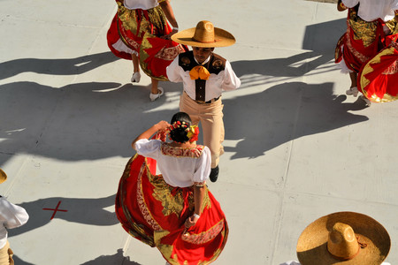 Zacatecas, Mexico, 31 July 2013: A dance group from mexico is performing on stage at the 18th Festival Cultural Internacional Zacatecas del Folclor. It is the biggest international folcloric festival of the Americas with troupes from 19 countries and from Editorial