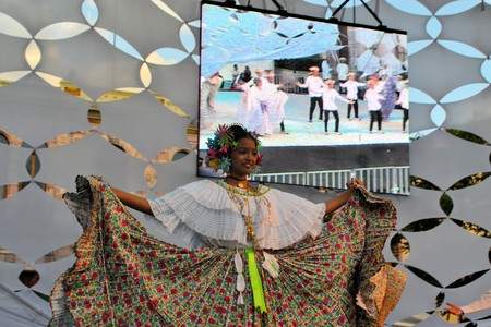 Zacatecas, Mexico, 03 August 2013: A dance group from Panama performs on stage at the 18th Festival Cultural Internacional Zacatecas del Folclor. It is the biggest international folcloric festival of the Americas with troupes from 19 countries and from 10