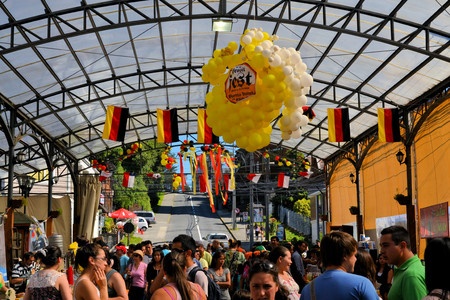 Puerto Varas, Chile - 18 January 2013: Beer tent decorated for Prosit fest, an Octoberfest style German festival in a beer tent in Puerto Varas. Descendants of German settlers are still practising their traditions in Southern Chile around lake Llanquihue, Editorial