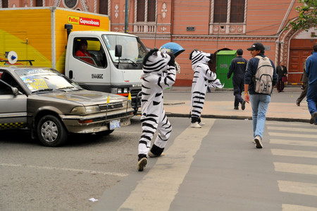facto: La Paz, Bolivia - 2012: Workers dressed as Zebras teach citizens the right way to cross the street using a Zebra styled crosswalk. La Paz had a bad track record for traffic accidents in the past. La Paz is the de facto capital of Bolivia.