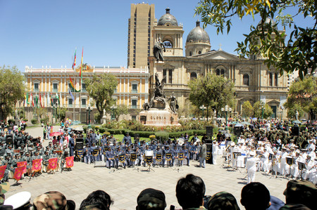 murillo: La Paz, Bolivia - 24 March 2013: Military music corp is playing on Plaza Murillo in front of the government building for dia del mar in La Paz capitol Bolivia. Die del Mar is celebrated annualy on the day Bolivia lost the Litoral province to Chile and the