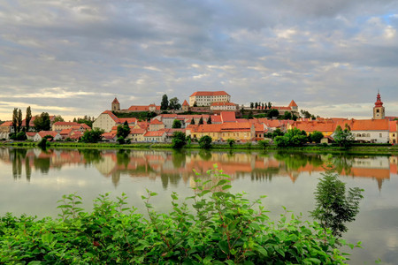 Ptuj, on the Drava River, and the oldest recorded city in Slovenia, has been inhabited since the late Stone Age and developed from a Roman military fort. Stock Photo