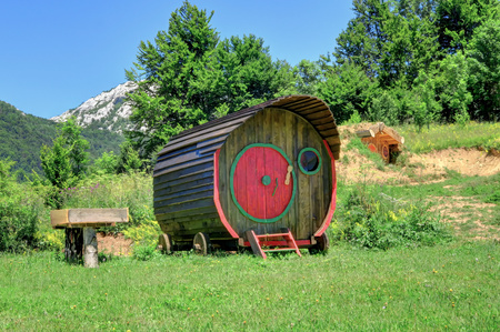 Wooden, tiny home on wheels in the Croatian countryside