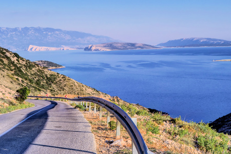 Krk is a large Croatian island in the northern Adriatic Sea, connected to the mainland by a bridge. Stock Photo