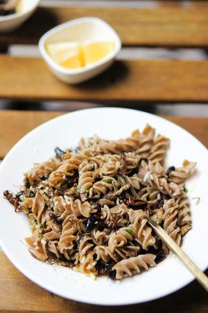 Crickets, Onions, Garlic, Lemon, and Cricket Pasta in a Picatta Sauce