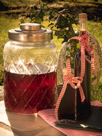 photo shows how to preserve fruits in alcohol/ DIY homemade raspberry liqueur Imagens - 96324923