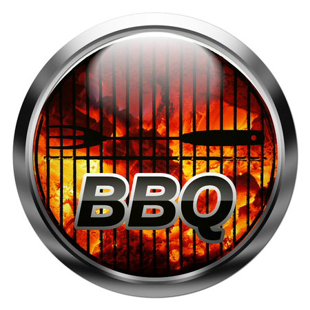 metallic button with charcoal, bbq fork, rack, and text