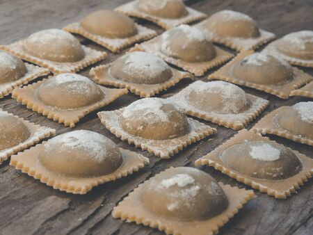 preparation of reginal and traditional ravioli for restaurant menu Imagens - 140132412