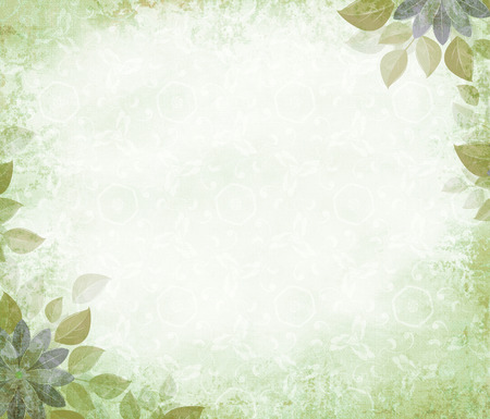 Background grunge with flower corners, olive. The basis for design or the text on a rough cloth, in ancient style. Stock Photo