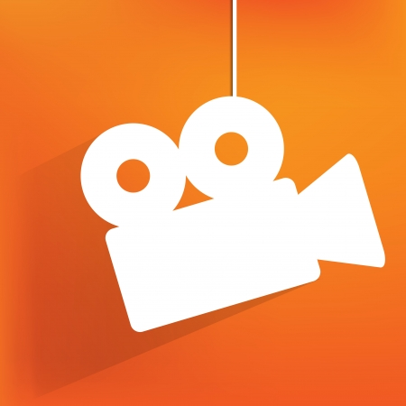 Films: Videocamera web icon, flat design