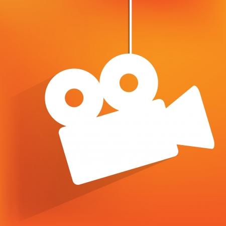 video reel: Videocamera web icon, flat design