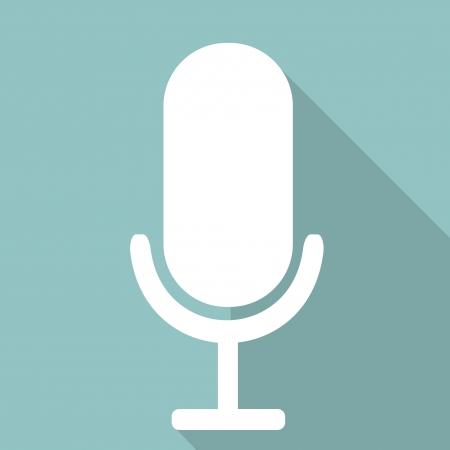 microfono antiguo: Micrófono icono web, diseño plano