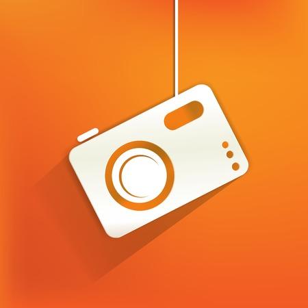 Photo camera web icon,flat design Stock Vector - 22965238